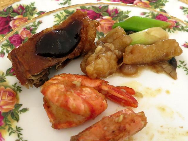 roast duck, fried shrimp with salted egg & stir fried boneless eel