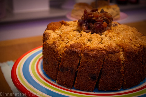 Dinner at the Manor Pear and Mincemeat crumble cake
