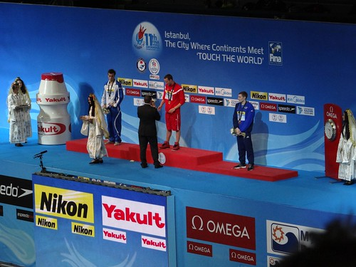The Istanbul 2012 men's 1500 freestyle medal podium
