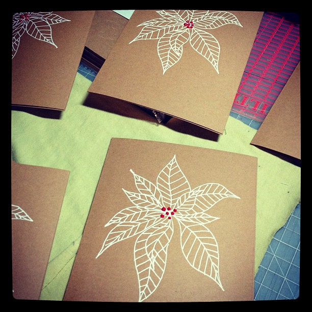 Making #Christmas cards. Having fun with white pen and puff paint.
