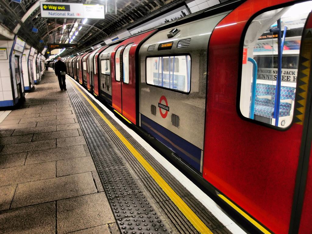 london underground victoria line train at victoria station southbound