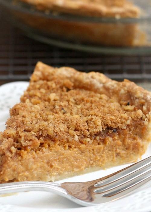 Pumpkin Pie with Brown Sugar-Walnut Topping