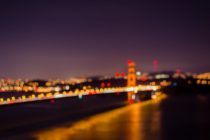 Bridge and city lights in Bokeh