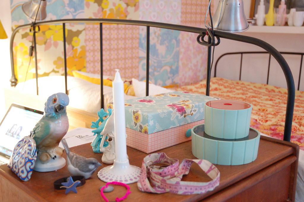Vintage bird figurines in soft pastels