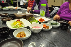 The banchan begins to come out..