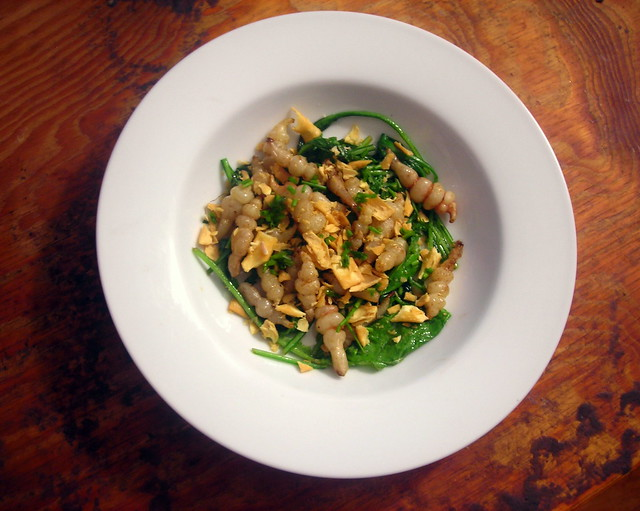 Crosnes and turnip green salad