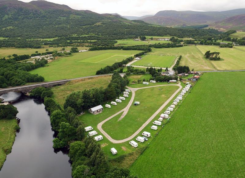 DJI_0134Spey Bridge Caravan & Camping Park Newtonmore aerial image Aaron Sneddon