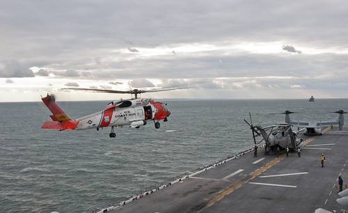 U.S. Coast Guard helicopters land aboard USS Wasp. by Official U.S. Navy Imagery