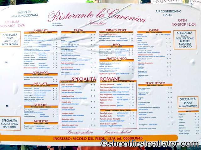 Ristorante La Canonica menu