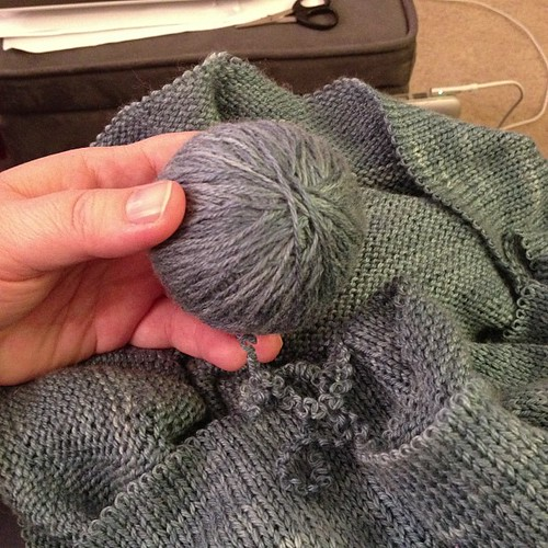 Frogging the yoke of this sweater so I can re-knit it on smaller needles.