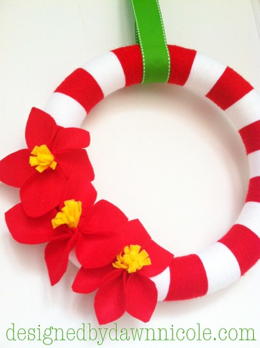 DIY Felt Poinsettia Flowers {on Striped Yarn Wreath}