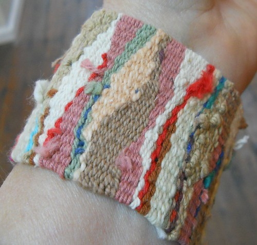Handwoven cuff, cream button