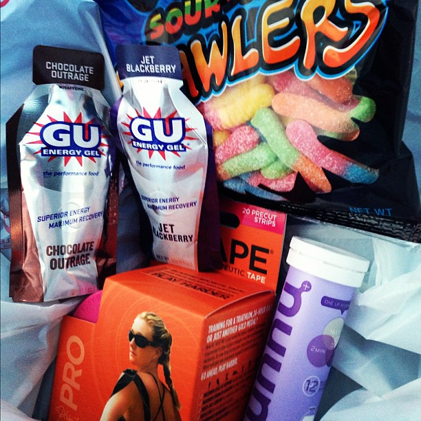 All prepped for my race! {So maybe the gummi worms aren't actually for the race...}