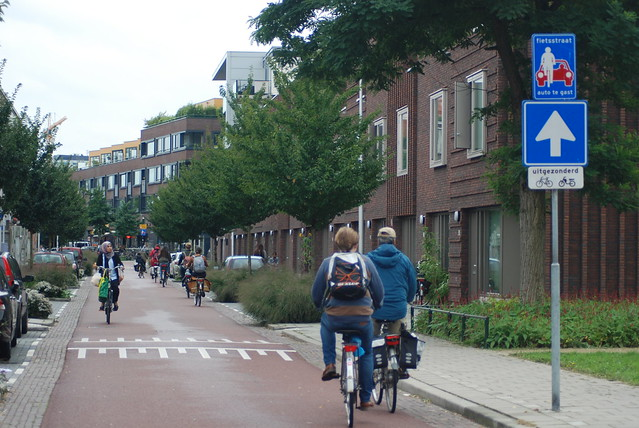 Dutch bicycle street in Utrecht