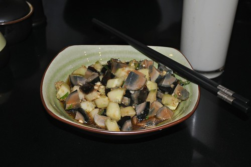 Breakfast: Century Egg and Cucumber with Soyamilk