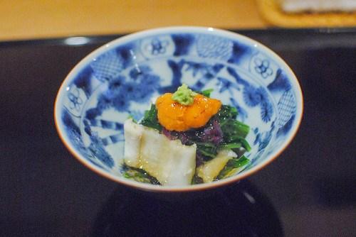 sea eel, sea urchin, greens, dashi jelly