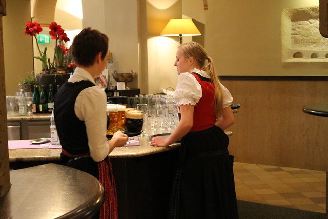 Waitresses in Bavarian costumes