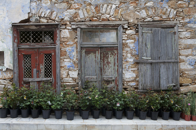 Ano Syros, Greece,  Cyclades, stone houses, doors, windows, island
