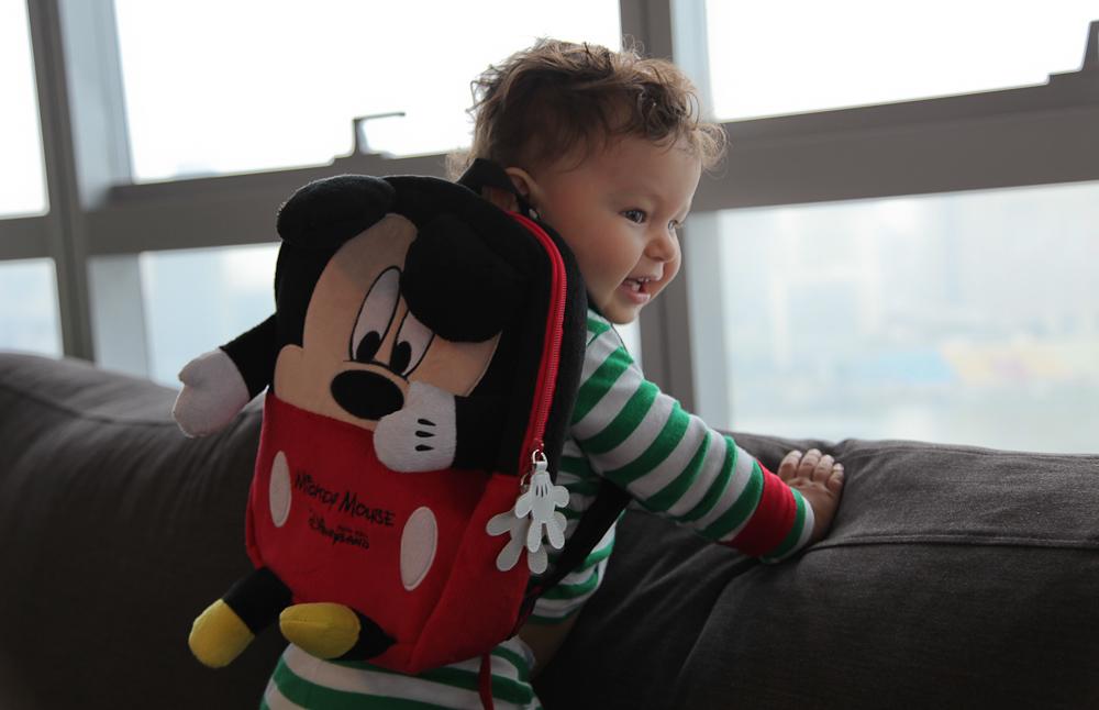 Cam and Mickey Christmas Morning