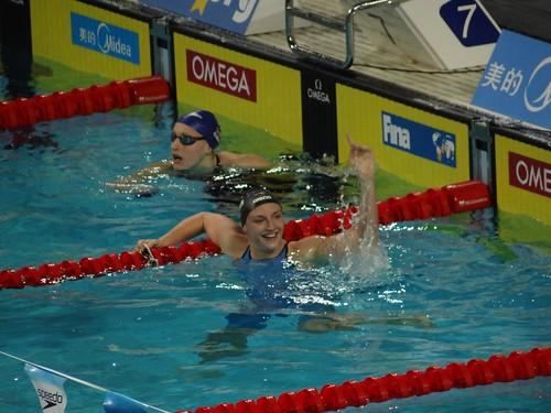 Katinka Hosszú after winning the Istanbul 2012 women's 100 IM