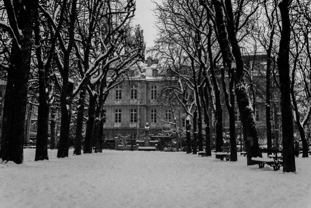 The Luxembourg gardens in the snow