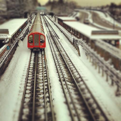 Departing tube train