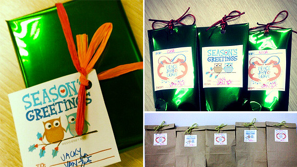 My free Christmas 2012 printable gift tags in use