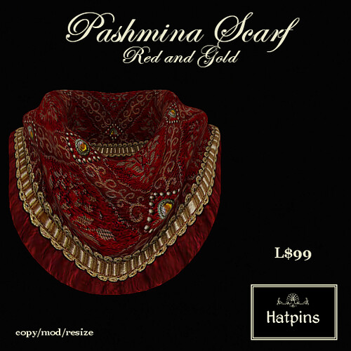 Hatpins - Pashmina Scarf - Red and Gold