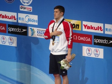 Dani Gyurta on the Istanbul 2012 medal podium