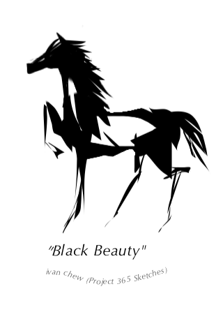 """Black Beauty"" (#20: Project 365 Sketches)"