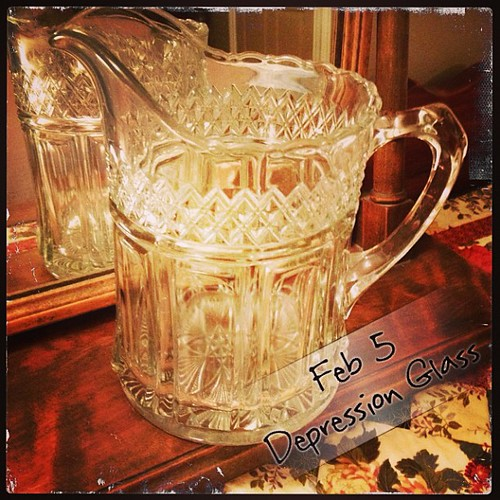 Feb 5 - depression glass {a wonderful old pitcher; and sometimes vase} #photoaday #depressionglass