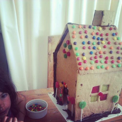 Gingerbread house decorating has begun.