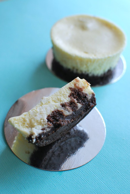 Mini White Chocolate-Brownie Chunk Cheesecake