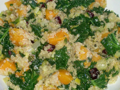 "Butternut squash, kale, quinoa, and cranberry ""stuffing"" by Shana Lee"