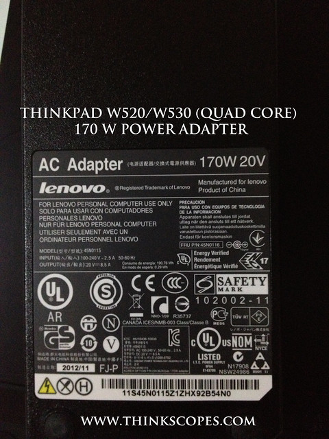 ThinkPad 170 Watts Adapter for W520 and W530 Quad Core