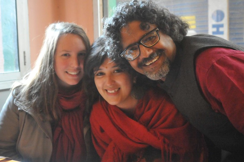 Gaelle from France and Gala from Argentina with Sreeni!