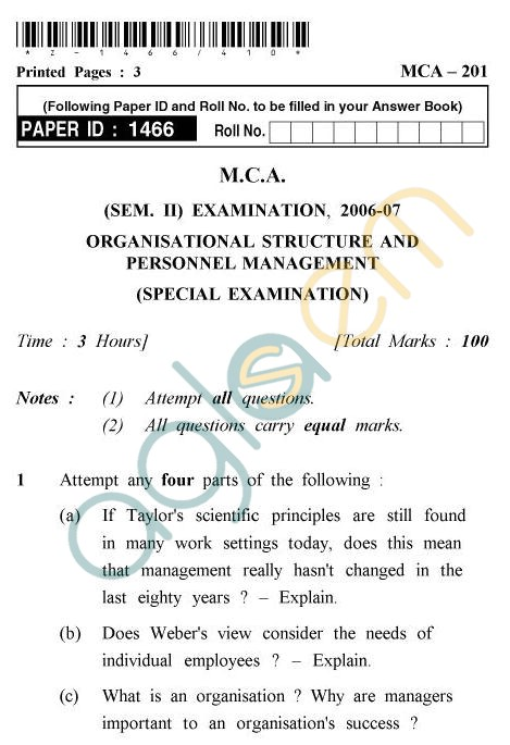 UPTU MCA Question Papers - MCA-201 - Organisational, Structure And Personal Management (Special, Examination)