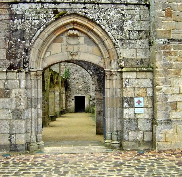 stone walls of Abbey at Lehon France