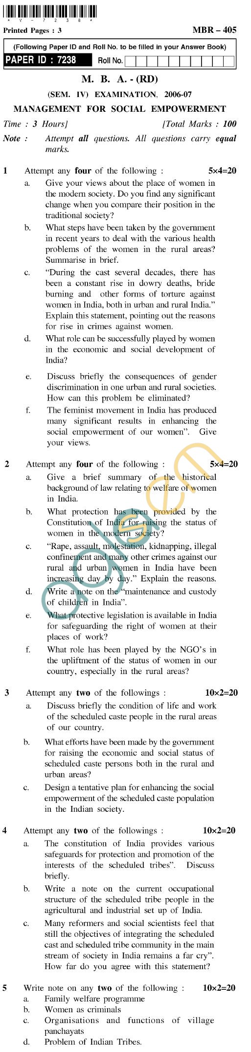 UPTU MBA (RD) Question Papers - MBR-405-Management for Social Empowerment