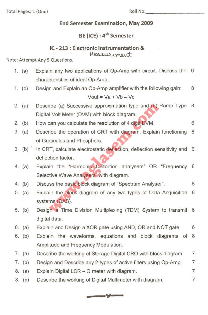 NSIT: Question Papers 2009 – 4 Semester - End Sem - IC-213