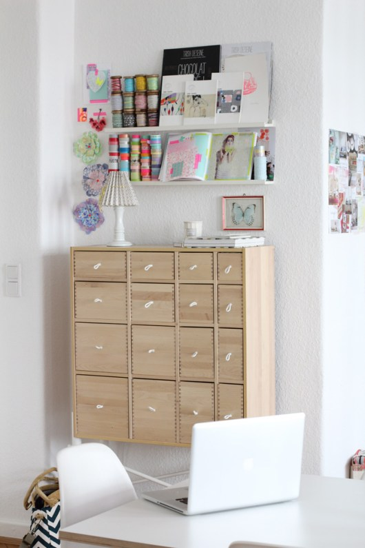 Craft Storage on IKEA RIBBA Ledges
