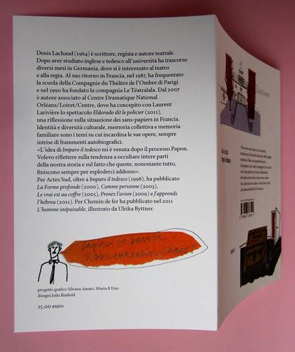 Denis Lachaud, Imparo il tedesco. 66THAND2ND 2013. Progetto grafico: Silvana Amatao, Marta B Dau. Alla cop.: disegno di Julia Binfield. Risvolto della quarta di copertina, q. di cop. (part.), 1