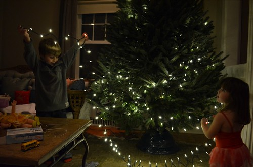 Lighting the tree