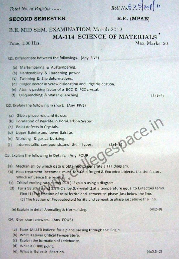NSIT Question Papers 2012 – 2 Semester - Mid Sem - MA-114