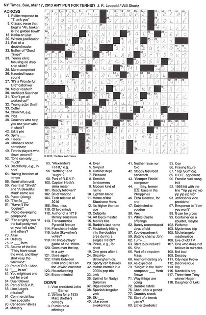 NYT Sunday Puzzle - March 17, 2013