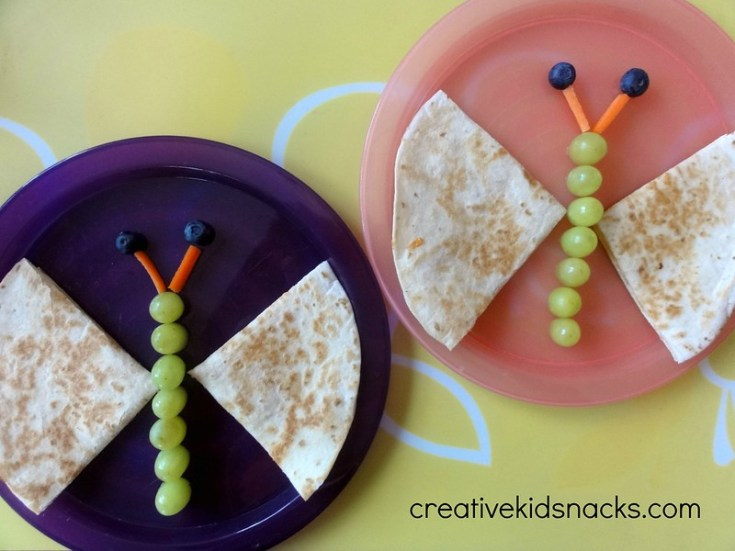Buttefly quesadillas by creativekidsnacks.com. Super easy and so fun!