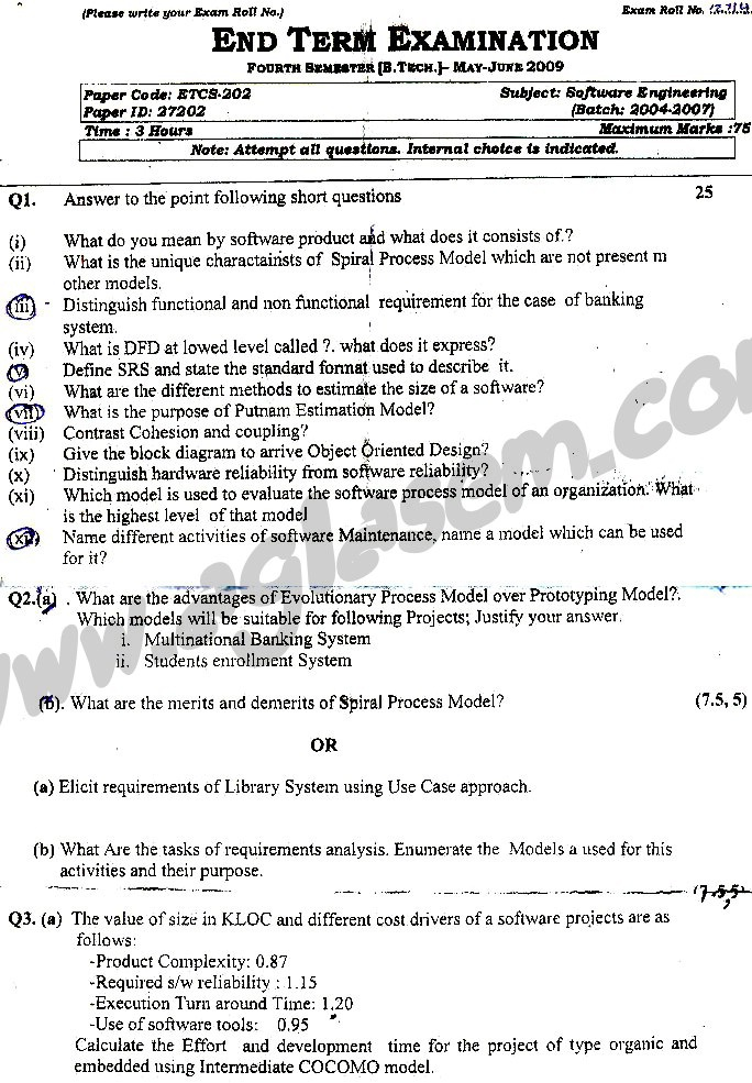 GGSIPU Question Papers Fourth Semester – end Term 2009 – ETCS-202