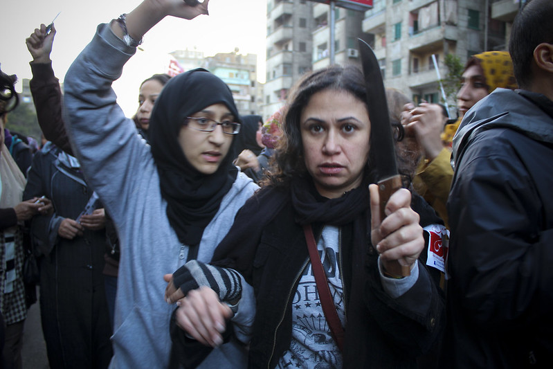 After the vicious gang rapes in Cairo's Tahrir Square on Feb. 6, second anniversary of the Egyptian revolution, thousands of women and supporters marched to Tahrir Square, denouncing Morsi and calling for an end to political sexual terrorism.  Photo courtesy of Gigi Ibrahim flickr.com/photos/gigiibrahim/8455999396.