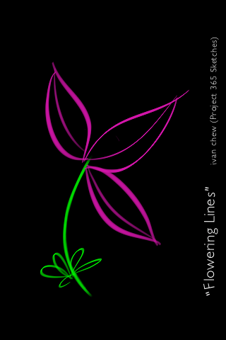"""Flowering Lines"" (#21: Project 365 Sketches)"