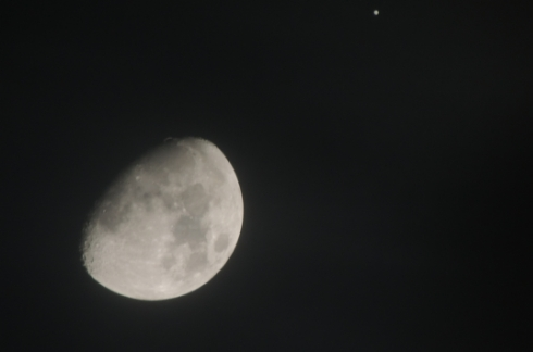 Moon & Jupiter on Jan 21, 2013 through a lot of clouds